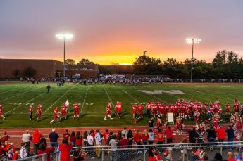 Naugatuck visits Wolcott under the setting sun and bright lights during the NVL Football game between Naugatuck and Wolcott at Wolcott High School in Wolcott on Friday. Bill Shettle Republican-American