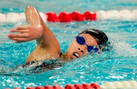 Pomperaug's Carolyn Yang won the 500M freestyle with a time of 6:06:77 during their meet against Stratford in SWC swim action Tuesday at Pomperaug High School. Jim Shannon Republican American