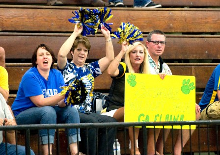 Seymour parents cheer on their team during their meet with Sacred Heart Wednesday at Kennedy High School in Waterbury. Jim Shannon Republican American