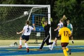 Oxford's Molly Sastram #10 watches the ball go past Sacred Heart's Goalkeeper Victoria Creaven for a score a goal during the NVL Girls Soccer Game between Oxford and Sacred Heart at Municipal Stadium in Waterbury on Wednesday. Bill Shettle Republican-American