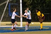 Oxford's Molly Sastram #10, center celebrates with teammate Sarah Courtney #7, as Sacred Heart's Toyin Bilewu #5, looks on, after scoring a goal during the NVL Girls Soccer Game between Oxford and Sacred Heart at Municipal Stadium in Waterbury on Wednesday. Bill Shettle Republican-American
