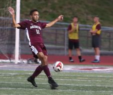 Naugatuck High School's Bruno Silva gets control of the ball during the boys varsity soccer game in Naugatuck against Woodland High School on Thursday. Emily J. Reynolds. Republican-American
