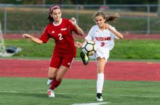 Watertown's Sophia Guerrera #2 gains control of the ball in front of Wolcott's Samantha Riviezzo #2 during a Girls NVL Soccer game between Watertown and Wolcott at Wolcott High School in Wolcott on Wednesday. Bill Shettle Republican-American