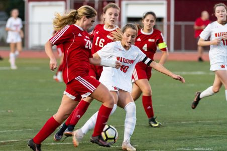 Watertown's Meadow Mancini #10 and Wolcott's Madison Daddona #20 both try to run down the ball during a Girls NVL Soccer game between Watertown and Wolcott at Wolcott High School in Wolcott on Wednesday. Bill Shettle Republican-American