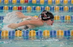 Torrington's Hannah Richard swims her leg while competing in the 200 Yard IM during their NVL meet with Seymour Tuesday at Seymour High School. Torrington won the event with a time of 2:14:90. Jim Shannon Republican American