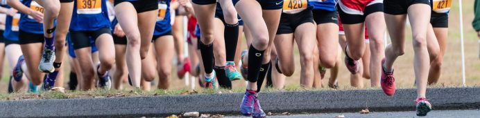 Shepaug's Elisa Afiouni, bib # 434 runs side by with Thomaston's Maegan Desmarais, bib #449, right behind the leader at the start of the BL Boys and Girls Cross Country Championships at Black Rock State Park in Watertown on Friday. Bill Shettle Republican-American