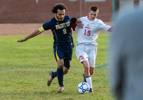 Wolcott Tech's Cobly Suminski #9 and Prince Tech's Ethan Bigler #19 battle for control of the ball along the sideline during a boys CTC soccer game between Prince Tech and Wolcott Tech at Oliver Wolcott Tech School in Torrington on Thursday. Bill Shettle Republican-American