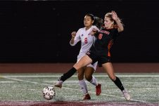 Watertown's Malina LaCapra #6 gets to the ball first in front of Wolcott's Alex Arteaga #8 during the girls NVL Championship game between Watertown and Wolcott at Naugatuck High School in Naugatuck on Thursday. Bill Shettle Republican-American