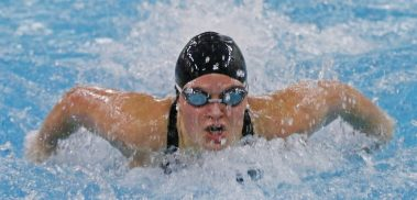 Seymour's Sierra Cripps won the 100 yard breaststroke during the NVL finals at Kennedy High School Friday night. Cripps had a time of 56.36 Seymour won the NVL title with an overall score of 755.5. Michael Kabelka / Republican-American
