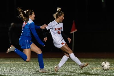 Watertown's Meadow Mancini #10 shoots on goal and scores Watertown's only goal in front of Tolland's Natalie Lyon #17 during a Girls Soccer Class L Semifinal game between Watertown and Tolland at Veterans Memorial Stadium at Willowbrook Park in New Britain on Monday. Bill Shettle Republican-American