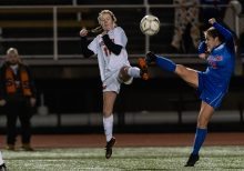 Watertown's Morgan Dodge #11 and Tolland's Eva Riggott #16 both get to the ball at the same time during the Girls Soccer Class L Semifinal game between Watertown and Tolland at Veterans Memorial Stadium at Willowbrook Park in New Britain on Monday. Tolland beat Watertown 2-1 and advances to the Class L finals. Bill Shettle Republican-American