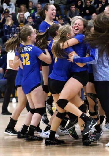 Seymour players celebrate after beating Weston to win the CIAC Class M volleyball championship in East Haven Saturday. Steven Valenti Republican-American