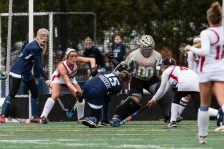 Cheshire goalkeeper Alexis Hemstock #00 makes a save on the shot of Cheshire's Sophia Vagts #15 during the CIAC 2018 Class L Field Hockey Championship game between Staples and Cheshire at Wethersfield High School in Wethersfield on Sunday. Staples beat Cheshire 2-0, thus winning the Class L Championship for 2018. Bill Shettle Republican-American
