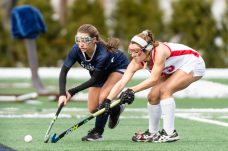 Cheshire's Olivia Salamone #33 and Staples' Jessica Leon #20 battle for control of the ball along the sidelines during the CIAC 2018 Class L Field Hockey Championship game between Staples and Cheshire at Wethersfield High School in Wethersfield on Sunday. Staples beat Cheshire 2-0, thus winning the Class L Championship for 2018. Bill Shettle Republican-American