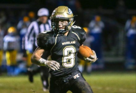 Woodland High School's Jason Palmieri carries the ball up the field during the game at Woodland High School against Seymour High School on Wednesday. Emily J. Reynolds. Republican-American
