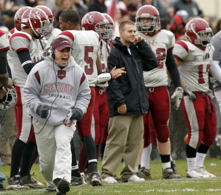 Naugatuck head coach, Rob Plasky reacts after a play in the fourth quarter against Ansonia. Naugy took home the win, 38-20, earning them a spot in the state playoffs for the first time since 2001. Christopher Massa Republican-American