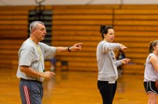 Torrington Girls Head coach Mike Fritch, left and Assistant coach Erika Pratt teach the girls the basic fundamentals during the girls basketball team's first practice as they prepare for the upcoming 2018 season at Torrington High School in Torrington on Wednesday. Bill Shettle Republican-American