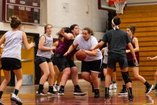 The Torrington Girls run a play from what they been taught during the girls basketball team's first practice as they prepare for the upcoming 2018 season at Torrington High School in Torrington on Wednesday. Bill Shettle Republican-American