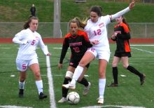 Wateretown Masuk girls soccer - Meadow Mancini (10) Hannah Epifano (5) Christina Moniz (12)