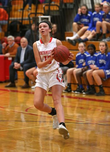Northwestern High School's Emma Propfe looks to take a shot during the girls varsity basketball game at Northwestern against Litchfield High School on Tuesday, Dec. 11, 2018. Emily J. Reynolds. Republican-American