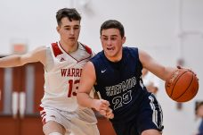 Shepaug's Joseph Brunelli #23 drives to the basket past Wamogo's Ben Roy #13 during a BL basketball game in the Litchfield Hills Holiday Claasic between Shepaug and Wamogo at Wamogo High School in Litchfield on Thursday. Bill Shettle Republican-American