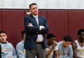 Sacred Heart Head Coach John Carrol looks on from the sidelines during a non-league intersectional basketball game betwwen Weaver and Sacred Heart at Sacred Heart High School in Waterbury on Friday. Bill Shettle Republican-American