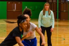 New Wilby Girls Basketball coach Kelly Fengler looks on as her players run a drill during the girls basketball team's practice as they prepare for the upcoming 2018 season at Wilby High School in Waterbury on Thursday. Bill Shettle Republican-American