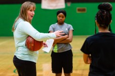 New Wilby Girls Basketball coach Kelly Fengler talks to her team during the girls basketball team's practice as they prepare for the upcoming 2018 season at Wilby High School in Waterbury on Thursday. Bill Shettle Republican-American
