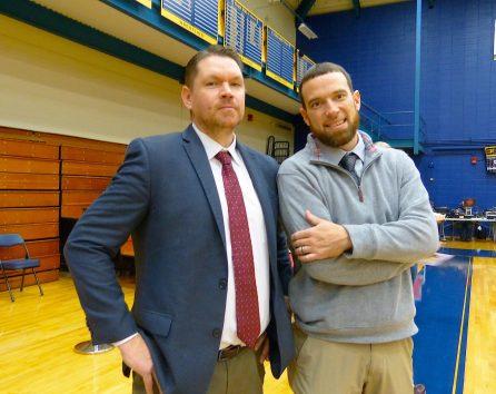 Sacred Heart coach Jon Carroll with Naugatuck coach Mike Wilson (Joe Palladino/RA)