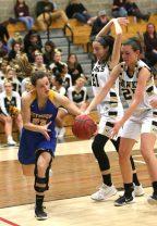 Seymour High School's Cathryn Ragaini steals the ball from Woodland High School's Ava DeLucia during the girls varsity basketball game at Woodland Regional High School on Thursday night. Emily J. Reynolds. Republican-American