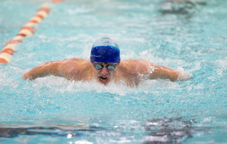 Watertown's Mateo Raidhi took first in the 100m butterfly with a time of 1:04.07 during their meet Tuesday with Wilby-Kaynor at Watertown High School. Jim Shannon Republican American