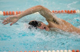 Watertown's Matteo Perugini took first in the 100m freestyle with a time of 56:52 during their meet Tuesday with Wilby-Kaynor at Watertown High School. Jim Shannon Republican American