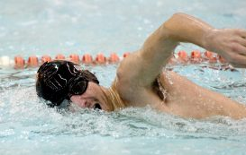 Watertown's Rob Guerrera finished first in the 500m with a time of 5:46.82 during their meet Tuesday with Wilby-Kaynor at Watertown High School. Jim Shannon Republican American