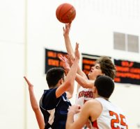 Terryville's Dylan Matulis puts up a shot in the lane against Wolcott Tech's Connor Tyrian #5 during a boys hoops game between Wolcott Tech and Terryville at Terryville High School in Terryville on Thursday. Bill Shettle Republican-American