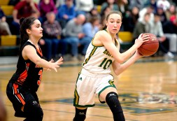 WATERBURY, CT-011819JS15- Holy Cross' Alyssa Hebb (10) looks to pass while being defended by Watertown's Marissa Forino (3) during their game Friday at Holy Cross High School. Jim Shannon Republican American