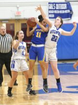 Housatonic High School's Sierra O'Niel tries to protect the ball from Litchfield High School's Anna Conaghan during the girls varsity basketball game in Litchfield on Tuesday, Jan. 22, 2019. Emily J. Reynolds. Republican-American