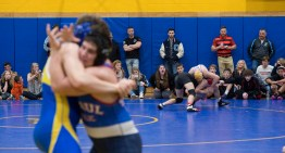 Wrestles battle on two mats in the semi-finals of the Berkshire-Valley Postseason Invitational held Saturday at the Gilbert School in Winsted. Jim Shannon Republican American
