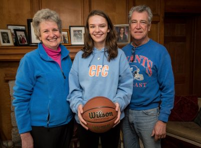 Northwestern senior Emma Propfe, center, at her home in New Hartford with her parents Nancy and Peter Propfe. Emma sustained a serious injury in soccer pre-season that required emergency brain surgery. Jim Shannon Republican American