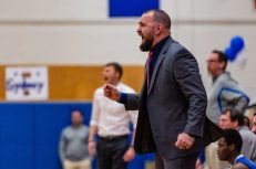 Litchfield head coach Dan Goscinski yells out instructions to his players, during a boys BL basketball game between Litchfield and Lewis Mills at Lewis Mills High School in Burlington on Thursday. Bill Shettle Republican-American