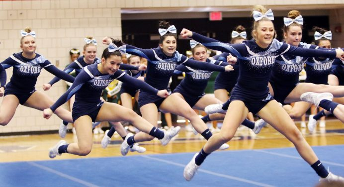 Oxford High competes in the NVL Cheerleading Championship at Crosby High School in Waterbury Saturday. Steven Valenti Republican-American