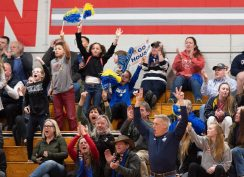 Housatonic fans and supporters cheer on their team as they defeat Northwestern to capture the Berkshire League tournament title Friday at Northwestern Regional High School in Winsted. Jim Shannon Republican American