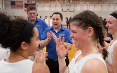 Housatonic head coach Steve Dodge talks with his players following their win over Northwestern to capture the Berkshire League tournament title Friday at Northwestern Regional High School in Winsted. Jim Shannon Republican American