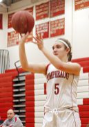 Pomperaug's Molly Flanagan (5) during the second round of the Class L tournament Thursday night at Pomperaug High School. Pomperaug defeated Branford 60-44. Michael Kabelka / Republican-American.