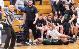 WCA's Rafael Prado looks for a indication from the referee that they get the ball after Prado and Enfield's Ty Calloway (3) scrambled for a loose ball during their Division II first round game Tuesday at Kennedy High School in Waterbury . Jim Shannon Republican American