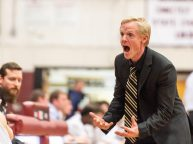 Torrington head coach Eric Gamari yells to his bench during their Division III second round game against Stratford Thursday at Torrington High School. Torrington won 72-47 to advance. Jim Shannon Republican American