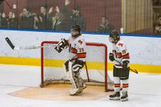 Watertown/Pomperaug's goalie Ryan Fleming #35 reacts, with Watertown/Pomperaug's James Moaddel #29 looking on after WMRP scored another goal to go up 3-1, during a Division II Hockey quarterfinal game between WMRP and Watertown/Pomperaug at Trinity College in Hartford on Friday. Bill Shettle Republican-American