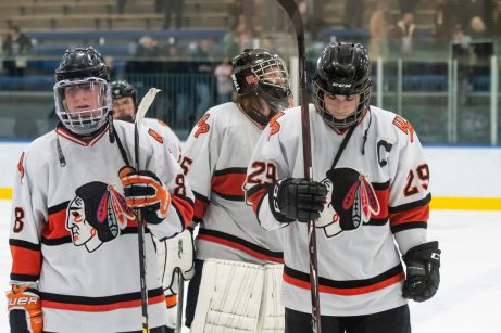 From left, Watertown/Pomperaug players Harrison McCormack #8, goalie Ryan Fleming #35, and James Moaddel #29, all skate off the ice a final time this year after getting beat 4-1, in a Division II Hockey quarterfinal game between WMRP and Watertown/Pomperaug at Trinity College in Hartford on Friday. Bill Shettle Republican-American