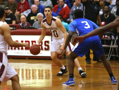 Torrington High School's Joel Villanueva looks for an open teammate during the quarterfinals of the Division III boys varsity basketball tournament in Torrington against West Haven High School on Monday, March 11, 2019. Emily J. Reynolds. Republican-American