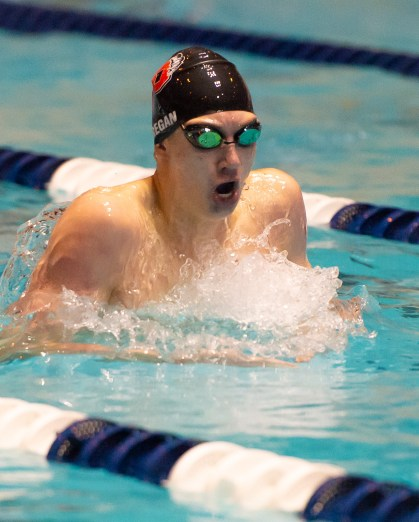 Pomperaug's Bill Regan competes in the 200 IM during the State Open swim championships Thursday at Yale University. Jim Shannon Republican American