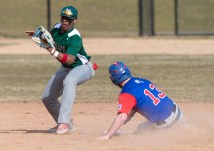 Nonnewaug's Jarrett Michaels (13) slides safely into second in front of the tag by Wilby's Dorio Sosa(10) during their scrimmage Monday at Nonnewaug High School in Woodbury. Jim Shannon Republican American